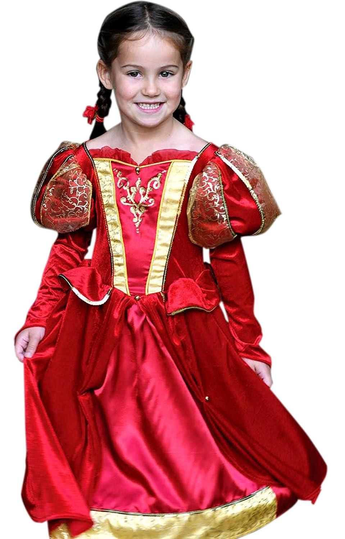 Halloweenia - Mädchen Karneval Komplett Kostüm Kleid Medieval Medieval Medieval Queen , Rot, Größe 98-110, 3-5 Jahre 8a0c40