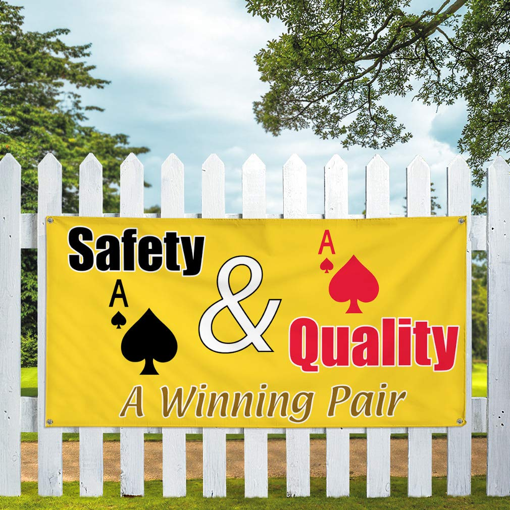 32inx80in Set of 2 Multiple Sizes Available 6 Grommets Vinyl Banner Sign Safety /& Quality A Winning Pair #1 Cards Marketing Advertising Yellow