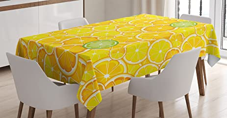Beau Yellow Decor Tablecloth By Ambesonne, Lemon Orange Lime Citrus Round Cut  Circles Big And Small