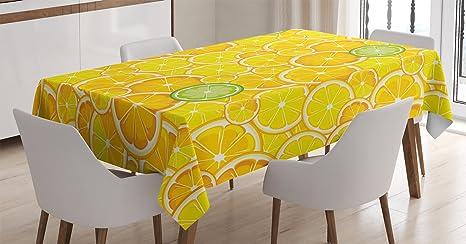 Amazon Com Ambesonne Yellow Decor Tablecloth Lemon Orange Lime