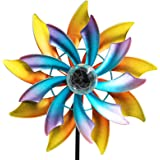 MAGGIFT 57 Inch Solar Wind Spinner with Metal Garden Stake, Multi Color Changing LED Solar Powered Glass Ball, Outdoor…