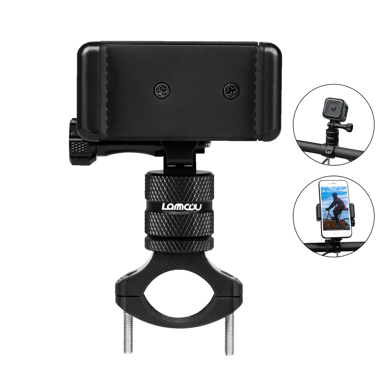 Action Camera Handlebar Mount, Lammcou 2in1 360 Degree Rotary Aluminum Alloy Bike Mount Kits for iPhone/Samsung/ LG Smartphone + Gopro/Xiaomiyi/Akaso/Campark/Crosstour/Sony /DBPOWER 4K Action Camera