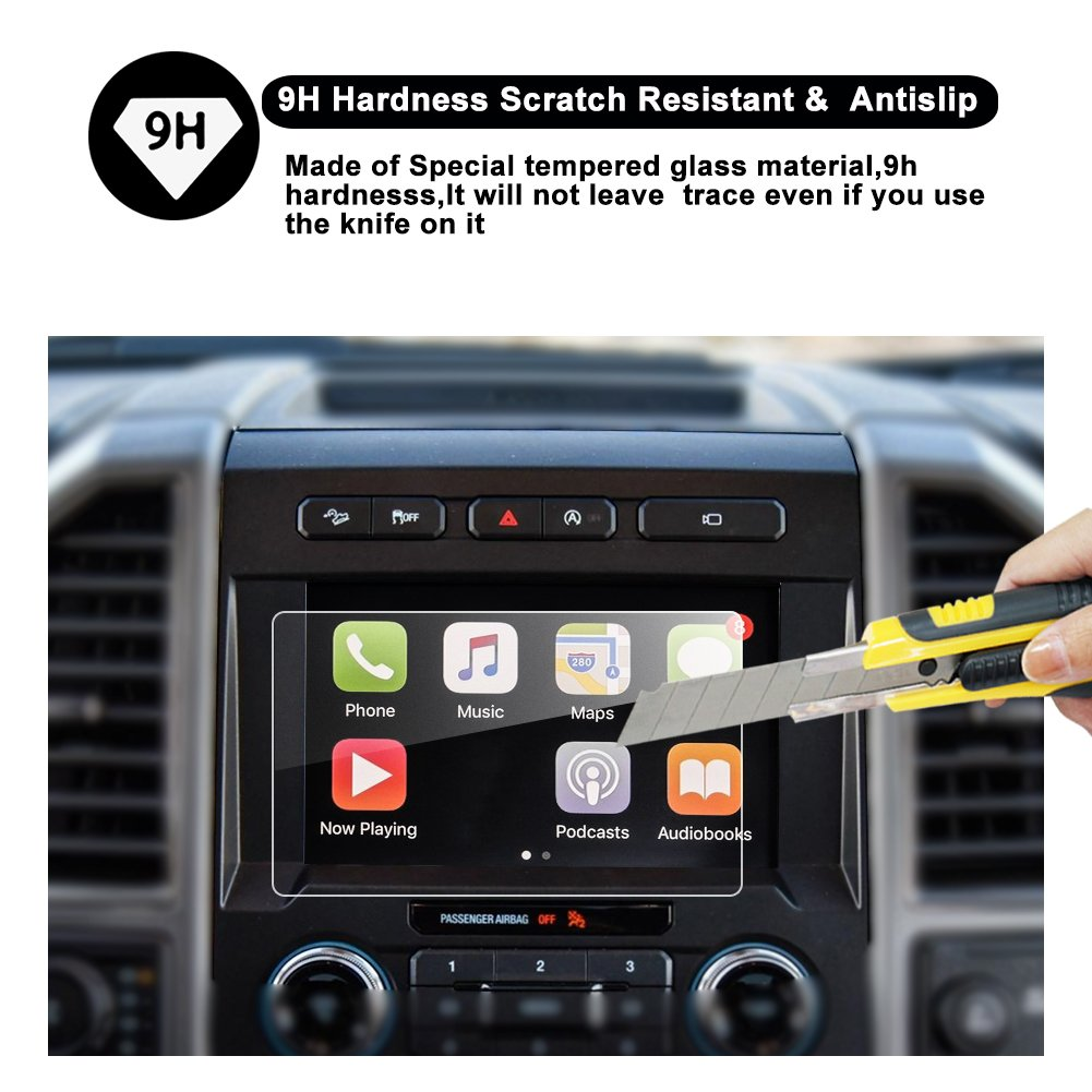 2015-2018 Ford F-150 250V 350 450 sync2 sync3 Car Navigation Screen Protector,8-Inch in-Dash Screen Protector High Clarity Anti-Fingerprint /& Anti-Scratch