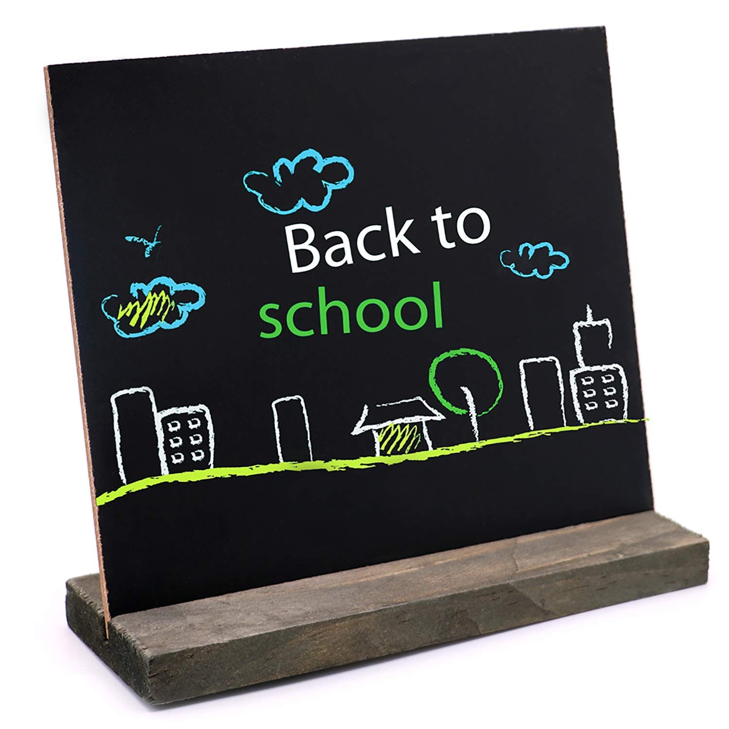Xgood 10 Sets Mini Chalkboard Easel Signs Wooden Small Blackboard Message Boards with Vintage Style and 2 Pieces Non-Woven Eraser for ...