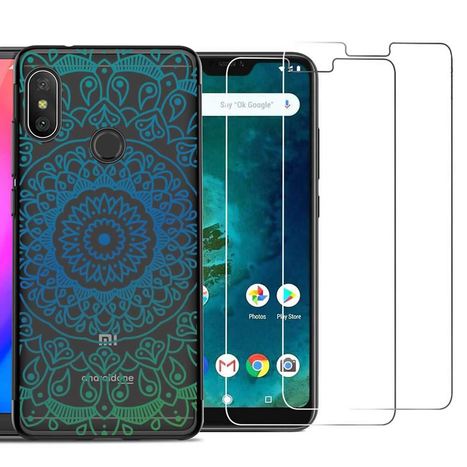 Xiaomi Redmi Note 6 Pro Case with 2 Pack Glass Screen Protector Phone Case for Men Women Girls Clear Soft TPU with Protective Bumper Cover Case for Xiaomi Redmi Note 6/Redmi Note 6 Pro-Mandala