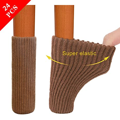 24Pcs Home Protect Floor Leg Sleeve Nonslip Table Chair Foot Cover Socks Booties