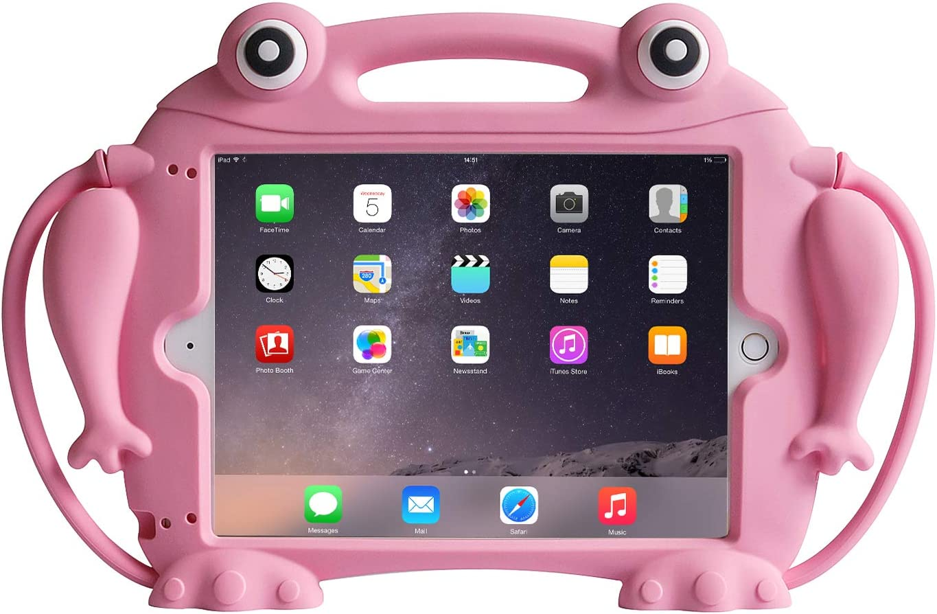 CHIN FAI Kids Case for iPad 9.7 2018 2017 / iPad Air 1 2 / iPad Pro - [Eye Popping Toys] Shockproof Silicone Handle Stand Frog Protective Cover for Apple iPad 5th 6th Generation (Pink)