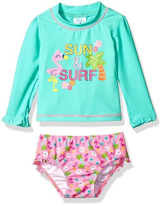 69ab5fc2f94c7 Kiko & Max Little Girls' Suit Set with Long Sleeve Rashguard Swim Shirt, Sun