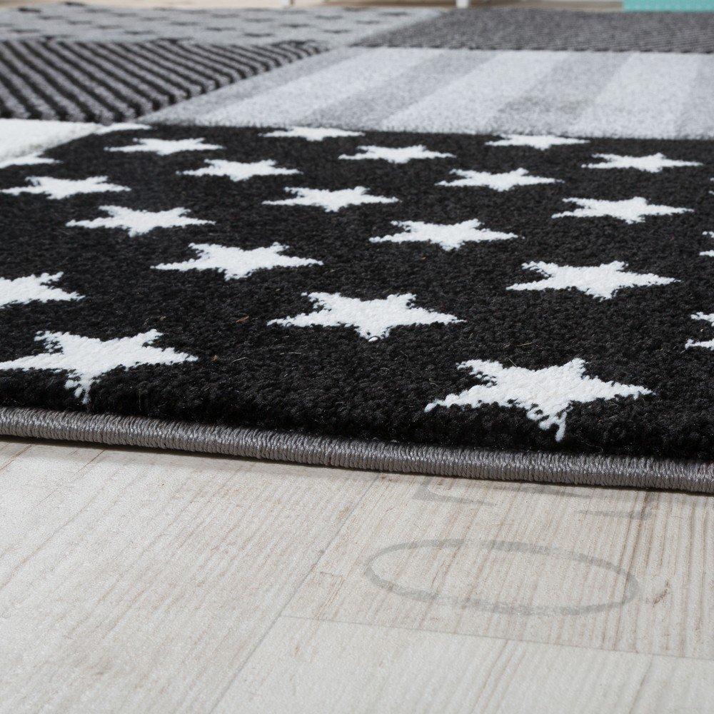 Paco Paco Paco Home Kinderteppich Sterne Muster Kurzflor Konturenschnitt Karo Design Grau Schwarz, Grösse:140x200 cm f844fd