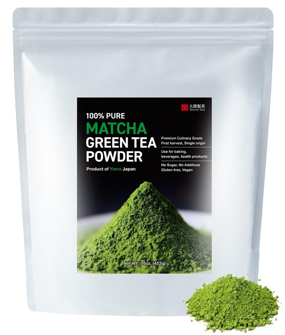 Okuma Teas Japanese green tea Yame Matcha Premium Culinary Grade 100% pure first harvest Fukuoka Matcha (16 oz.) (453 g)