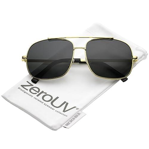 ddc1d41980d68 zeroUV - Classic Metal Straight Crossbar Polarized Square Lens Aviator  Sunglasses 58mm