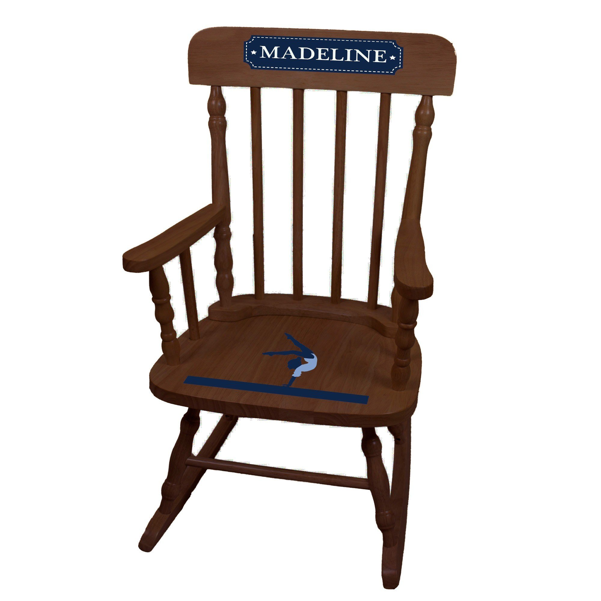 MyBambino Personalized Gymnastics Espresso Childrens Rocking Chair