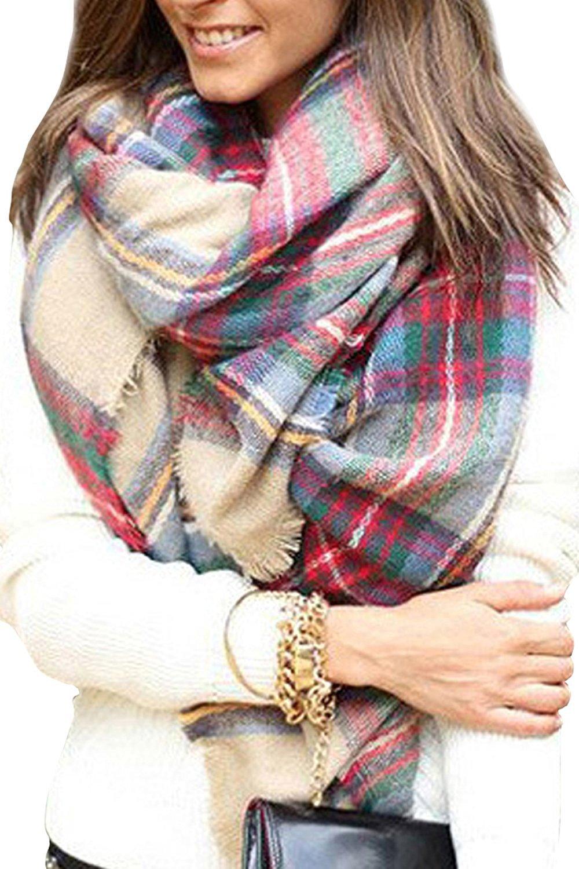 Bess Bridal Women's Plaid Blanket Winter Scarf Warm Cozy Tartan Wrap Oversized Shawl Cape (One Size, Camel)