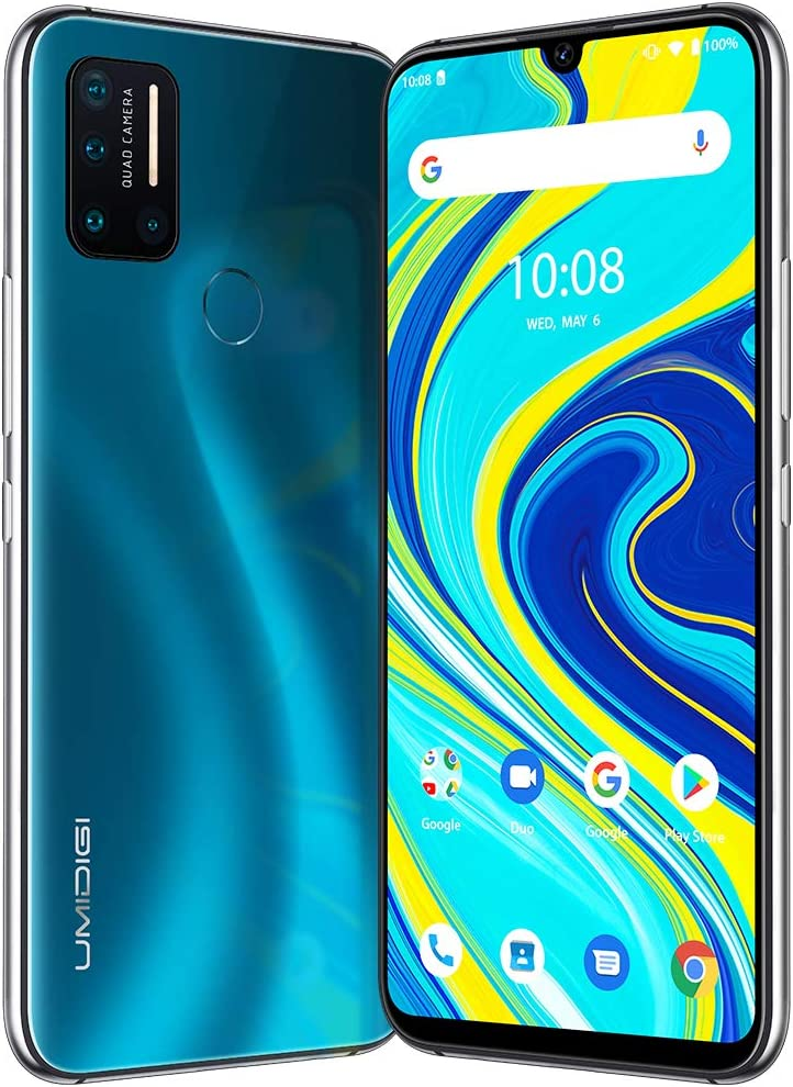 "UMIDIGI A7 Pro Unlocked Cell Phones(4GB+64GB) 6.3"" FHD+ Full Screen, 4150mAh High Capacity Battery Smartphone with 16MP AI Quad Camera, Android 10 and Dual 4G Volte(Ocean Blue)."