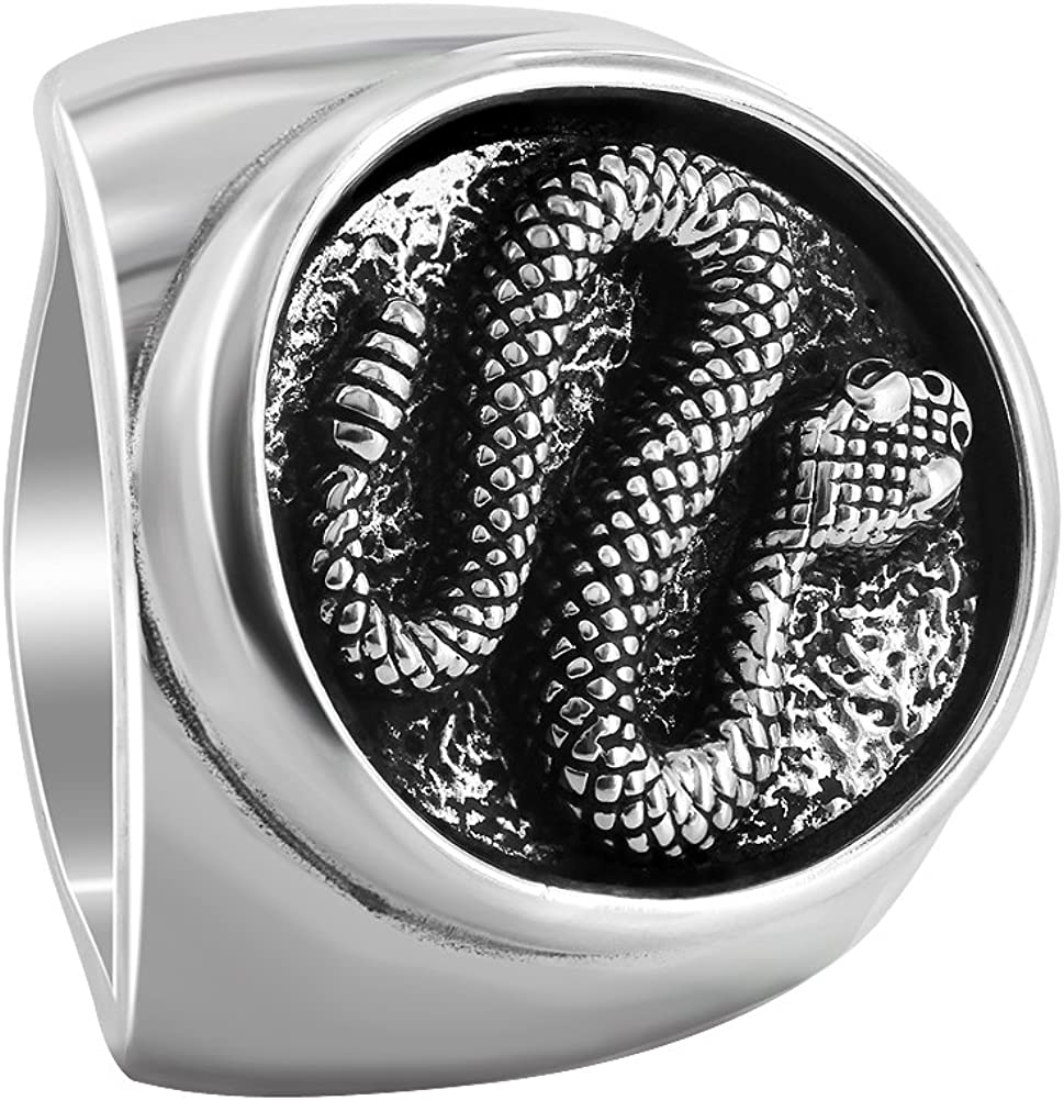 Gem Avenue Mens 925 Sterling Silver Southwestern Style Oval with Snake Ring