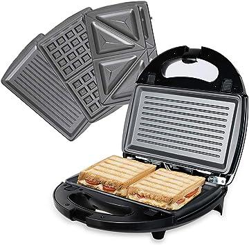 Sandwichmaker Sandwich Toaster Grill Kontakt Tisch Waffeleisen 3 Einsätze Rot
