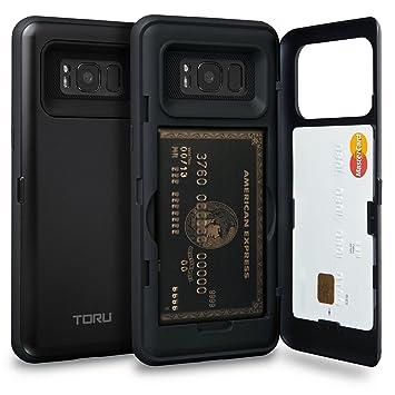 TORU CX Pro Funda Galaxy S8 Carcasa Cartera con Tarjetero Oculto y Espejo para Samsung Galaxy S8 - Negro Mate