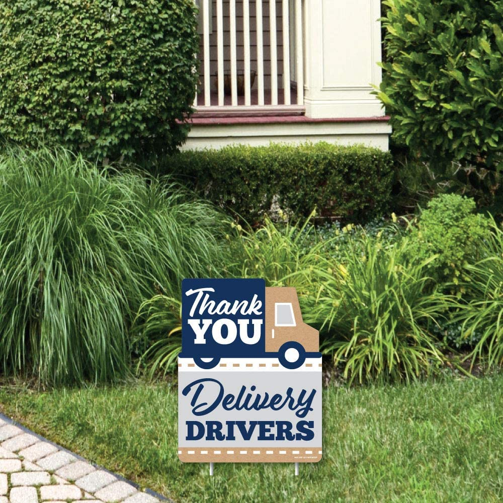 Big Dot of Happiness Thank You Delivery Drivers - Outdoor Lawn Sign - Appreciation Yard Sign - 1 Piece