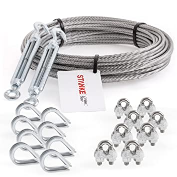 8x Kausche Seilwerk STANKE Rankhilfe Drahtseil verzinkt 40m Stahlseil 4mm 6x7 SET 5 2x Spannschloss M6 Haken+/Öse 8x B/ügelformklemme