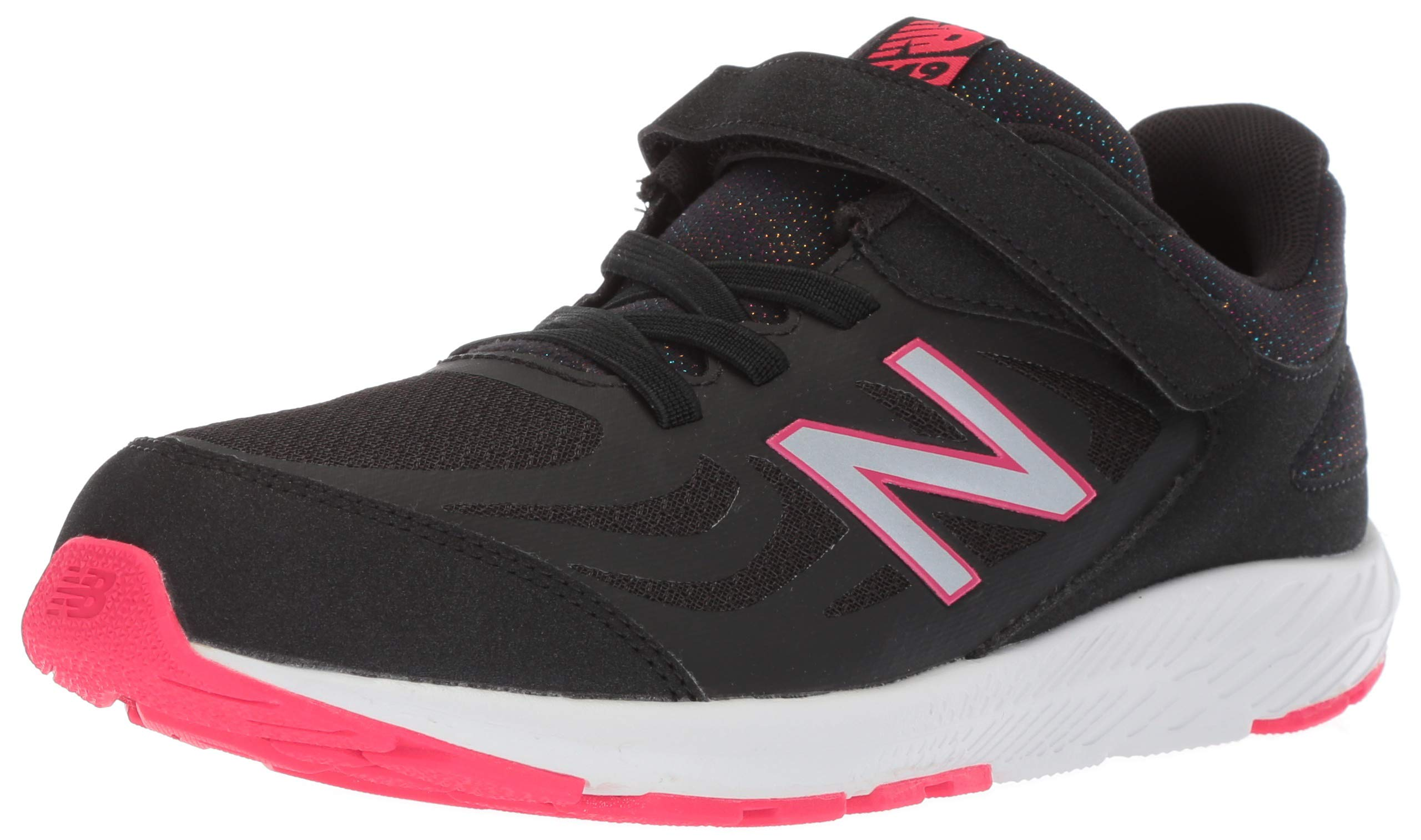 New Balance Girls' 519v1 Hook and Loop Running Shoe Black/Rainbow 2 M US Infant