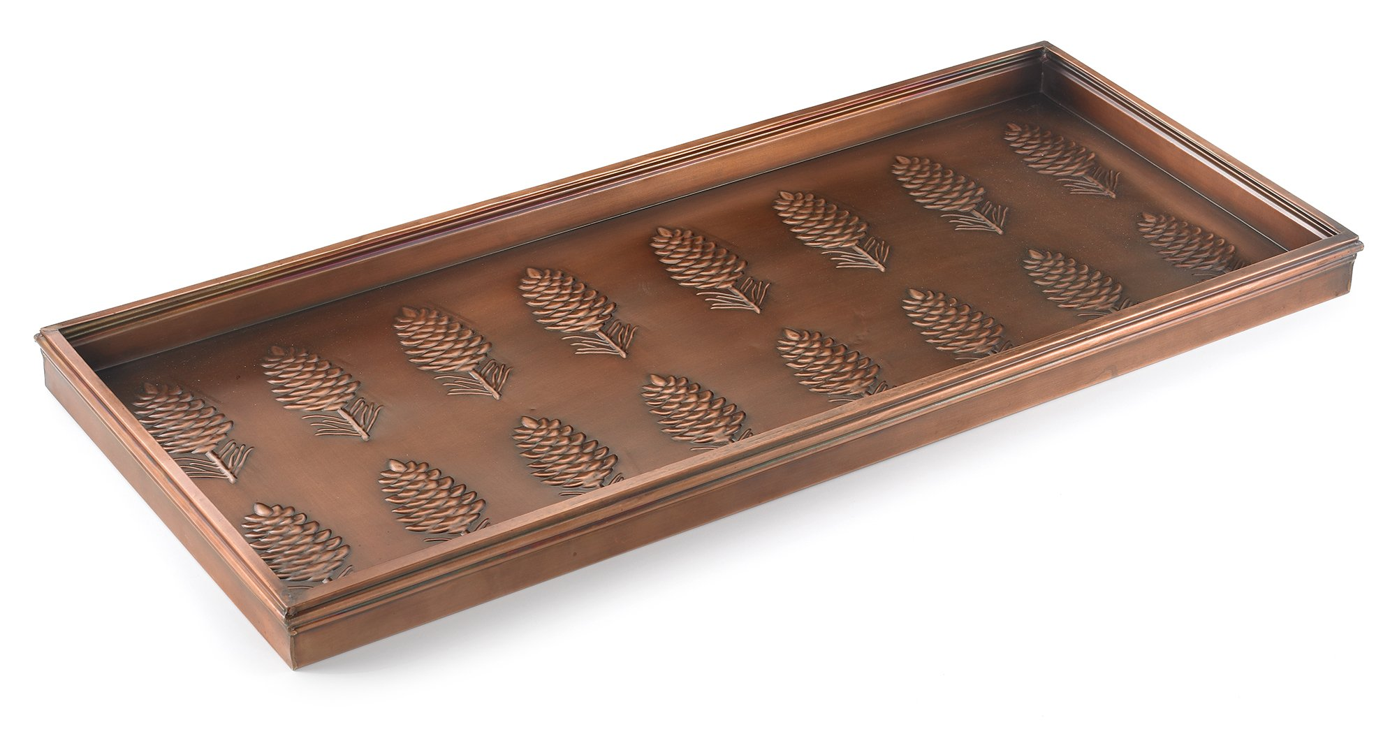 Good Directions Pine Cones Multi-Purpose Boot Tray / Shoe Tray - Copper Finish (34 inch) - Plants, Pet Bowl, Garage, Entryway, Entrance, Foyer by Good Directions