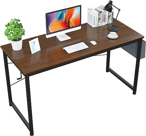 Foxemart 55″ Computer Desk Modern Sturdy Office Desk 55 Inch Writing Study Desk Simple PC Laptop Notebook Table