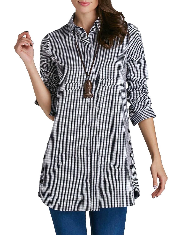 83dae0e54 TECREW Women's Casual Long Sleeve Button Down Plaid Shirts Loose Tunic  Blouse Top