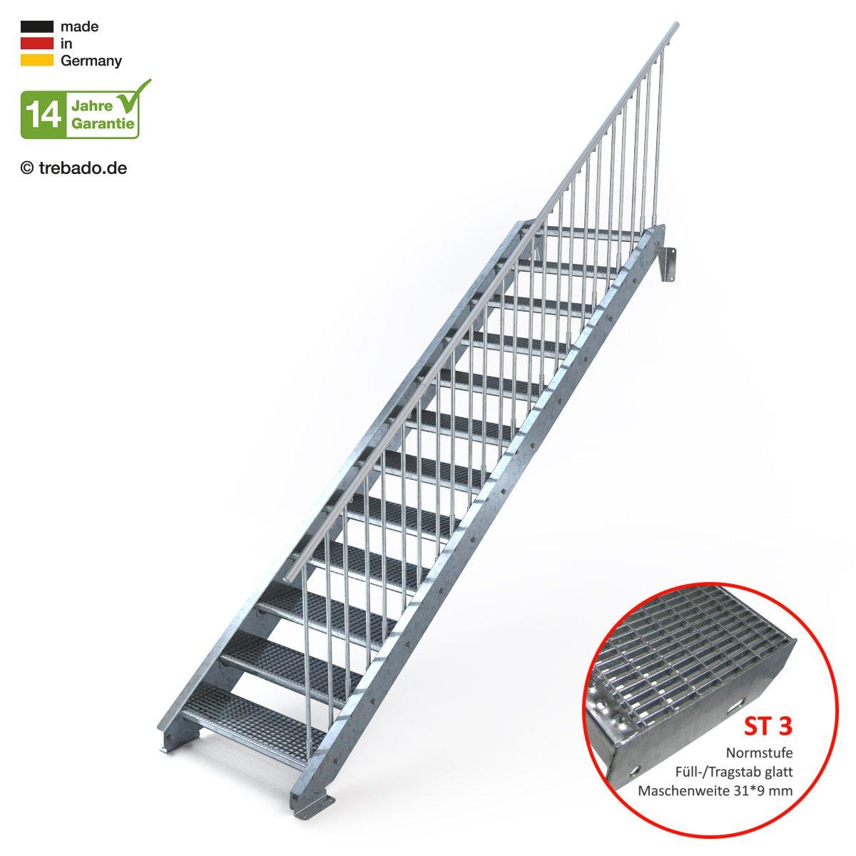 Gitterroststufe ST1 Au/ßentreppe 12 Stufen 80 cm Laufbreite Anstellh/öhe variabel von 199 cm bis 240 cm einseitiges Gel/änder rechts feuerverzinkte Stahltreppe mit 800 mm Stufenl/änge als montagefertiger Bausatz