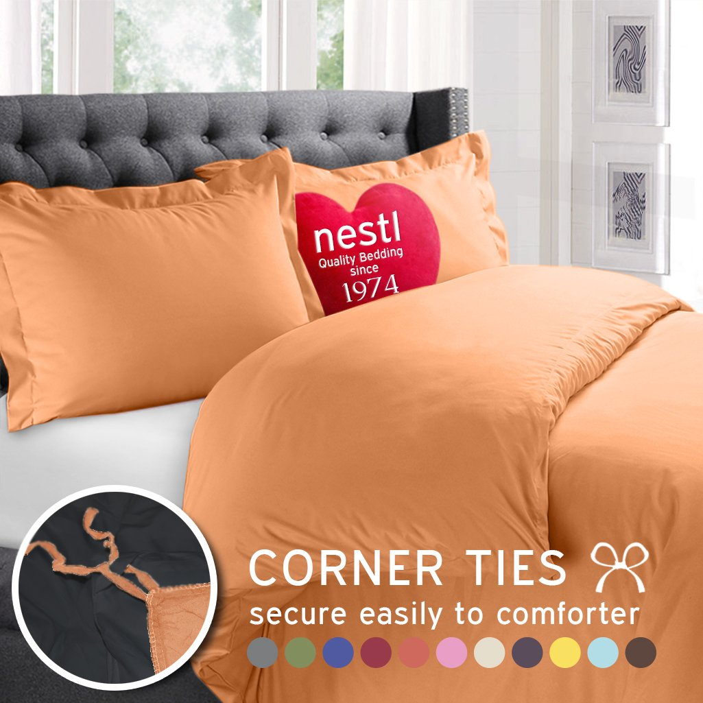 Nestl Bedding Duvet Cover, Protects and Covers your Comforter / Duvet Orange