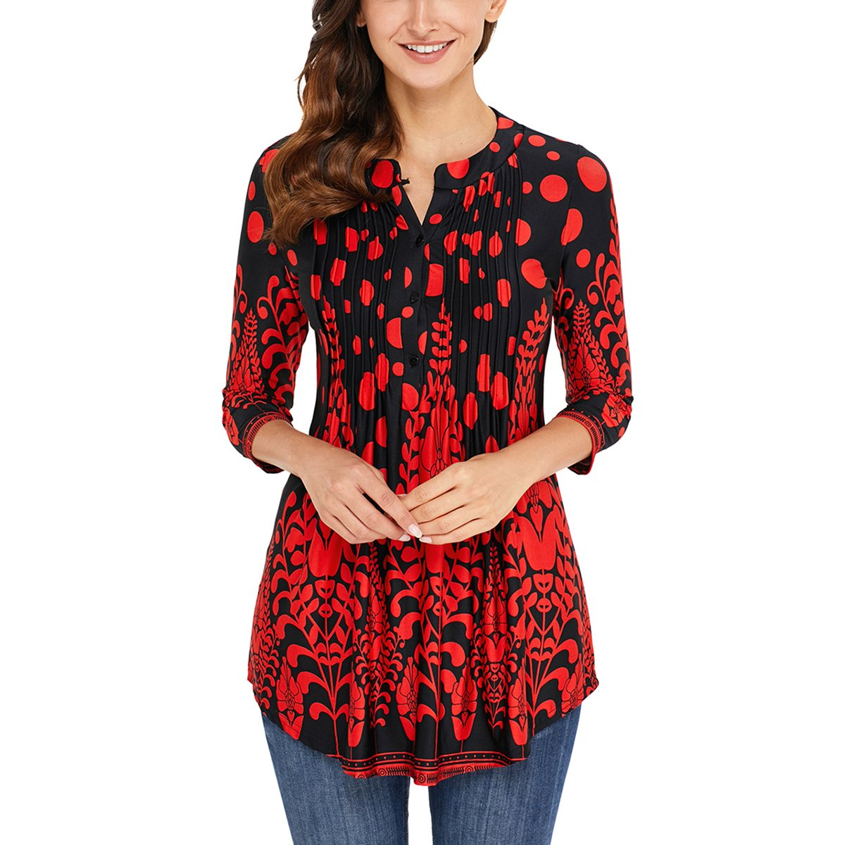 CZ Women 3/4 Sleeve Henley Neck Floral Print Tunic Loose Tops Blouse