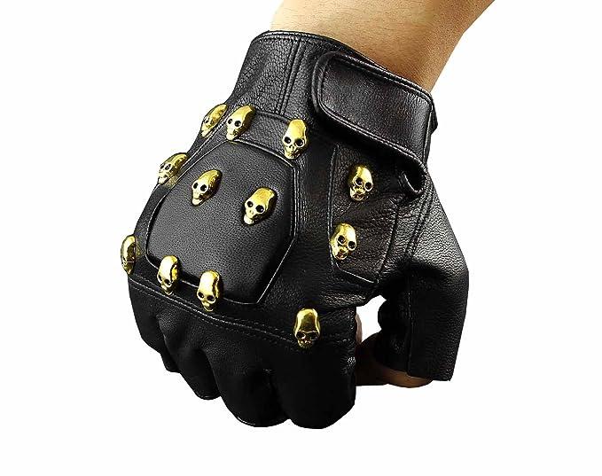 0bfbfeba99a Gold Skull Studded Punk Rocker Real Leather Fingerless Gloves at ...