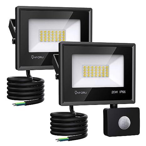 Onforu 2× 20W Foco Exterior LED, 1800LM Proyector Foco LED con Sensor de Movimiento