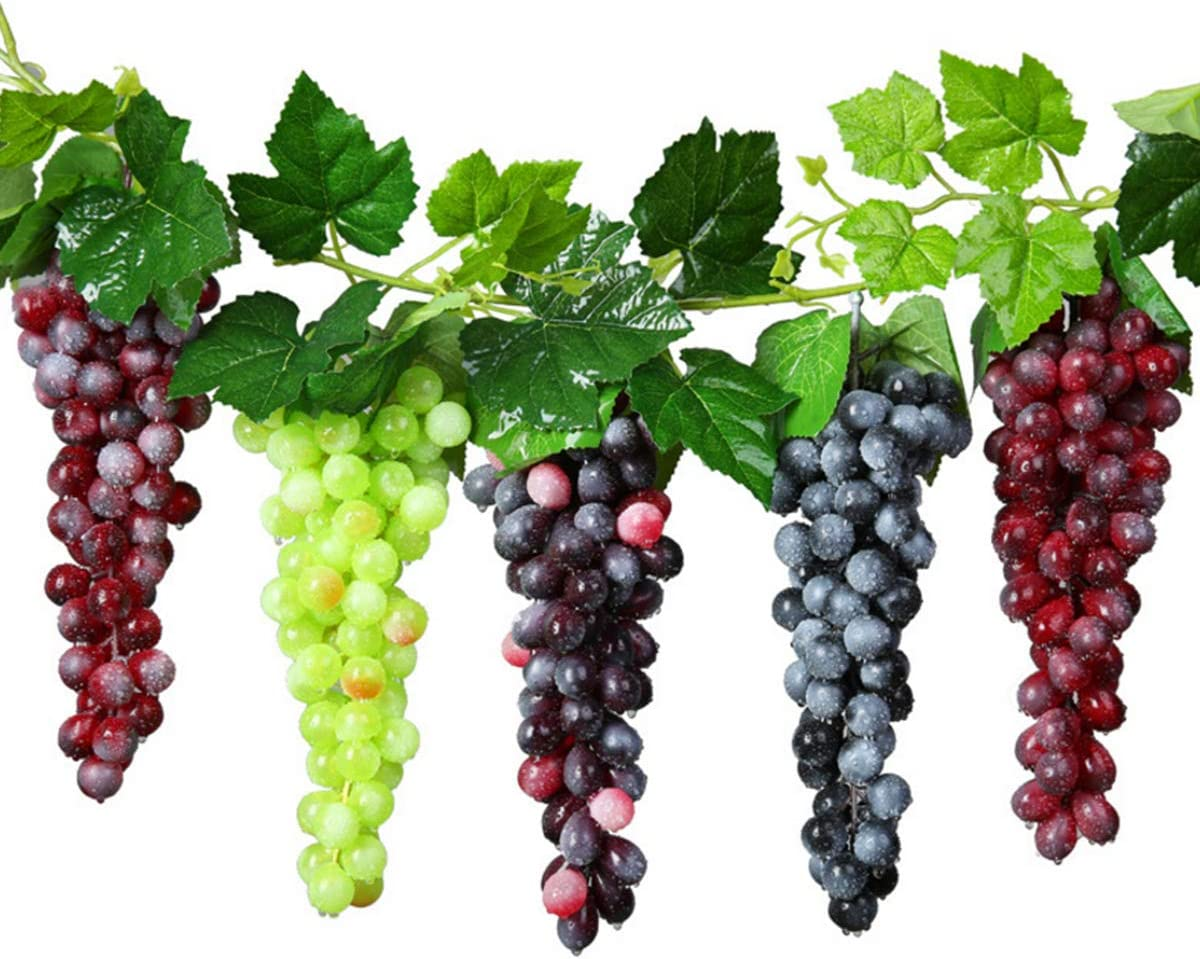 Amazon Com Studyy 5 Bunches Artificial Grape Fake Grapes With Vines Lifelike Simulation Fruit Decorative For Kitchen Party Pub Home Cabinet Ornament 36 Kernels