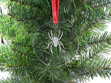 4074fe118ef1f Personalized Custom araña acrílico transparente para colgar adorno de árbol  de Navidad con lazo rojo  Amazon.es  Hogar