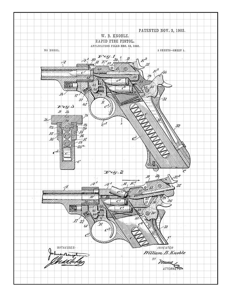 Amazon Com Rapid Fire Pistol Patent Print Art Poster Blue Grid 8