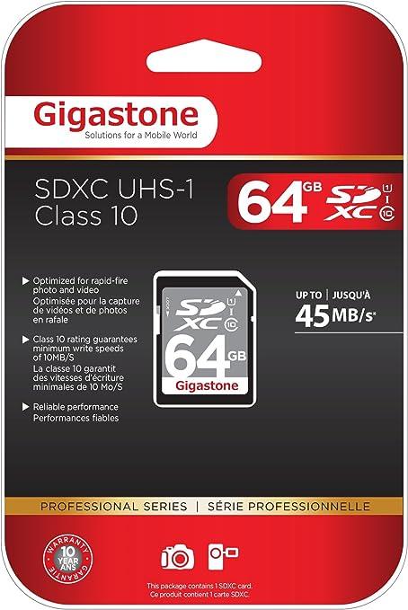 Tarjeta Gigastone SD HC 64 GB Clase 10 (C10 U1) de hasta 48 MB/s ...
