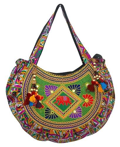 2392c8e4726f Image Unavailable. Image not available for. Color  Designer Multi Colored  Elephant Design Hand Embroidered Banjara Shoulder Bag