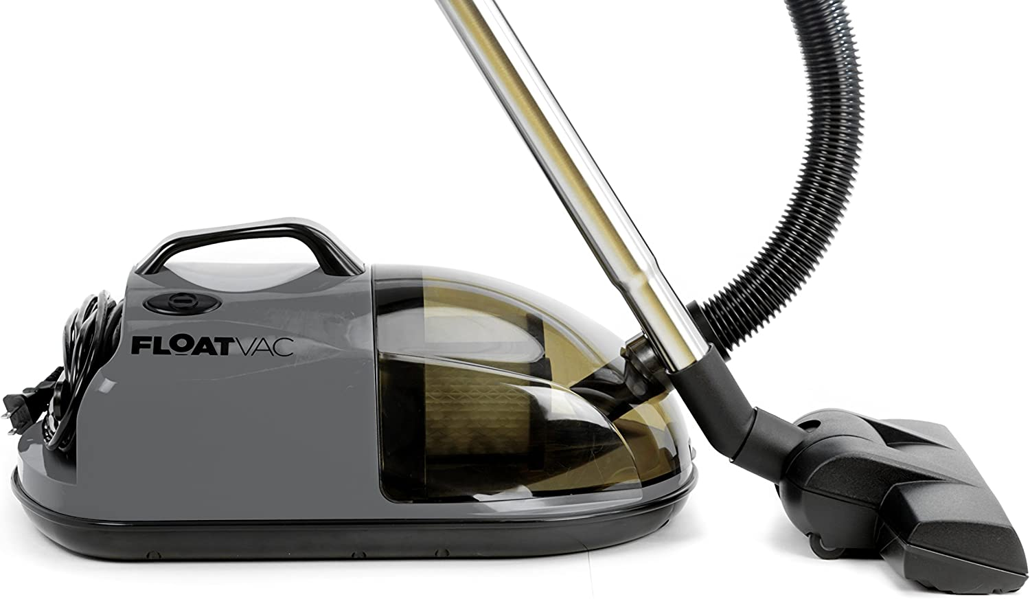 FloatVac bagless Canister Vacuum Floats on Invisible air Cushion, Extremely Lightweight, Powerful Suction - Smoke Grey