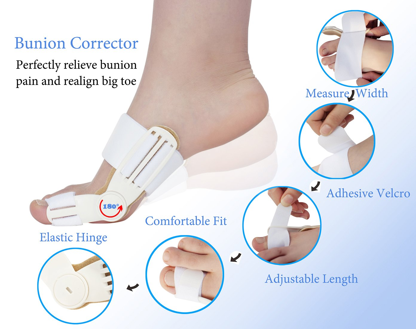 Amazon.com : Bunion Corrector & Small Toe Separator for Bunion Hallux Valgus Pain Relief and Gel Toe Separators, Bunion Toe Straighteners-2 Day Correctors ...
