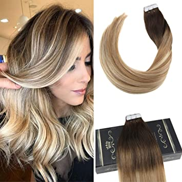 Ugeat 20 Zoll 20 Stuck 50gram Pastel Ombre Haarfarbe 2 Dunkelstes Braun Fading To 613 Blonde Tape In Remy Hair Extensions Echthaar Tape