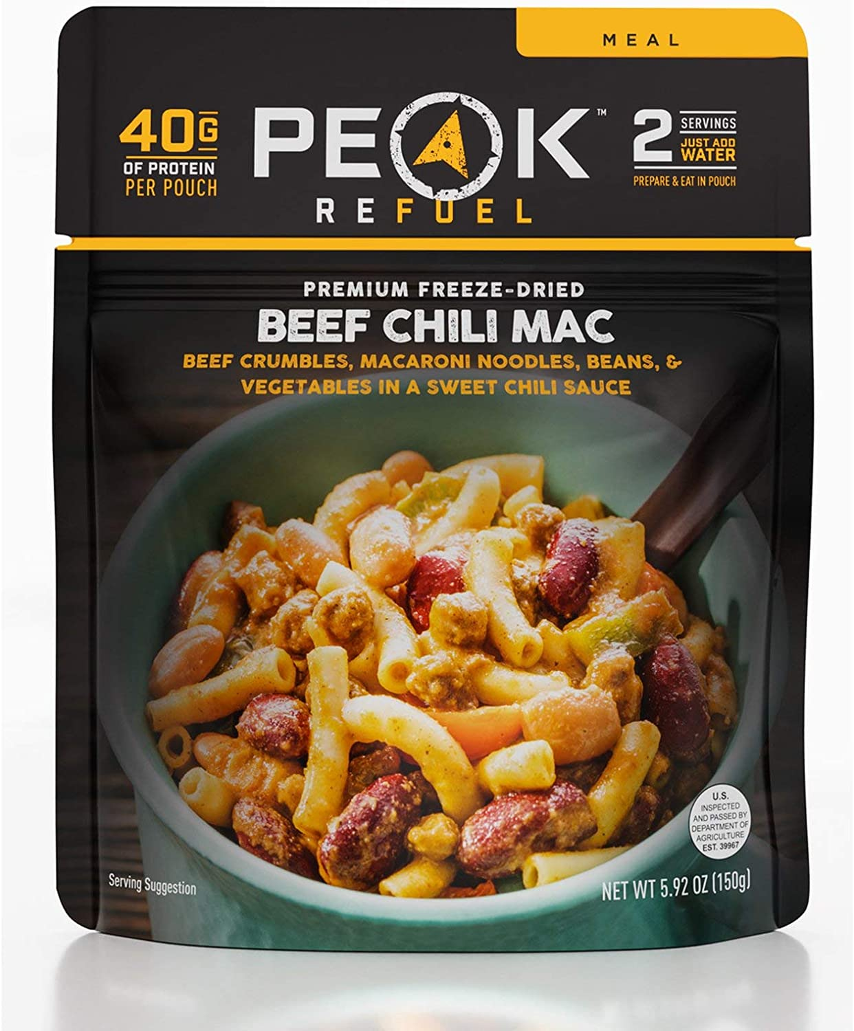 Peak Refuel Beef Chili Mac | Freeze Dried Backpacking and Camping Food | Amazing Taste | High Protein | Real Meat | Quick Prep