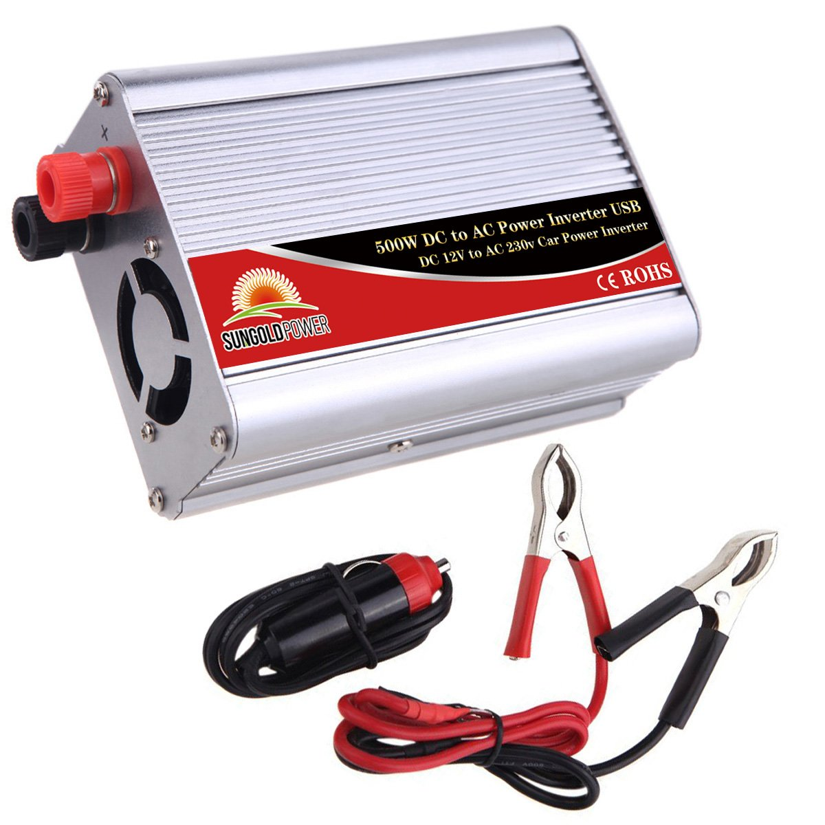 GoldPower Car Power Inverter Modified Wave 500W 12V DC to 220V/230V/240V AC Connection USB Port With Battery Cables with Clips Built-in Fan