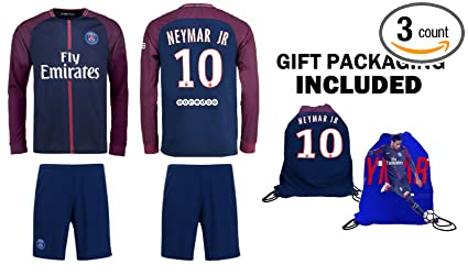 4e5b047e40a93 Image Unavailable. Image not available for. Color  Fan Kitbag Neymar Jr  10  PSG Home Long Sleeve Soccer Jersey   Shorts ...