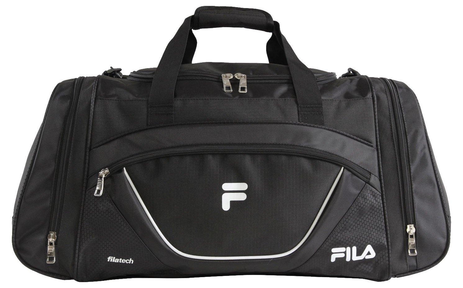 Fila Acer Large Sport Duffel Bag, Black/White, One Size