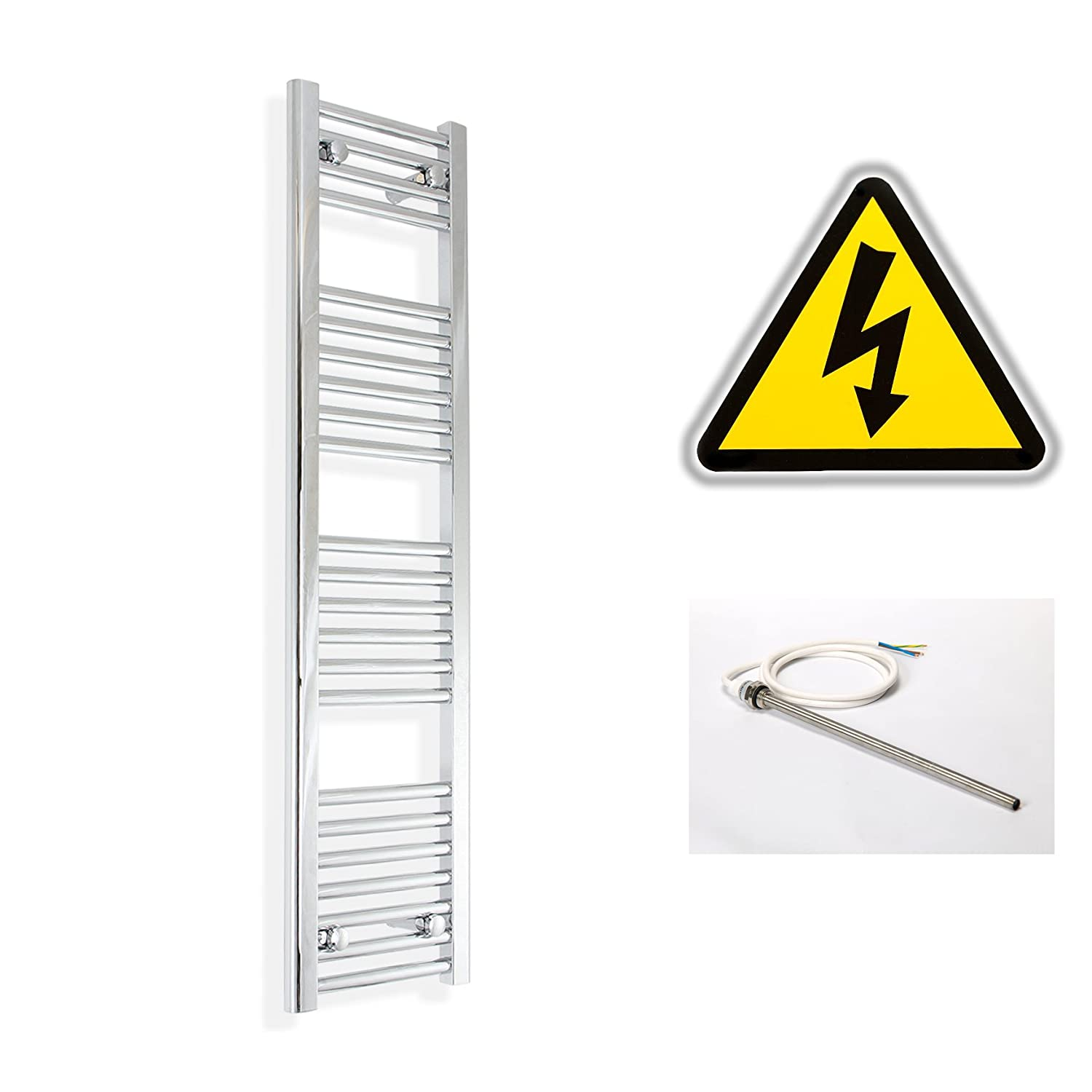 300mm wide x 1200mm high Prefilled Electric Heated Towel Rail Radiator Flat Chrome Bathroom Warmer