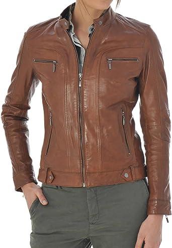 Prim leather Womens Lambskin Leather Bomber Biker Jacket