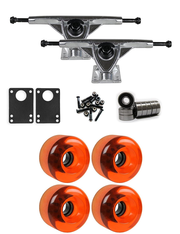 TGM Skateboards Longboard Cruiser Wheels Set 65mm x 51.5mm 83A 635C Blue Clear W-DW-65X515-83A-635BLU x4