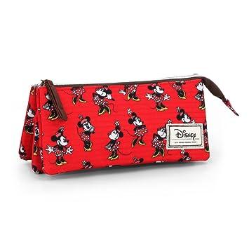 Disney Minnie Mouse Classic Minnie Estuche portatodo Triple, Color Rojo, 24 cm (Karactermanía 33587)
