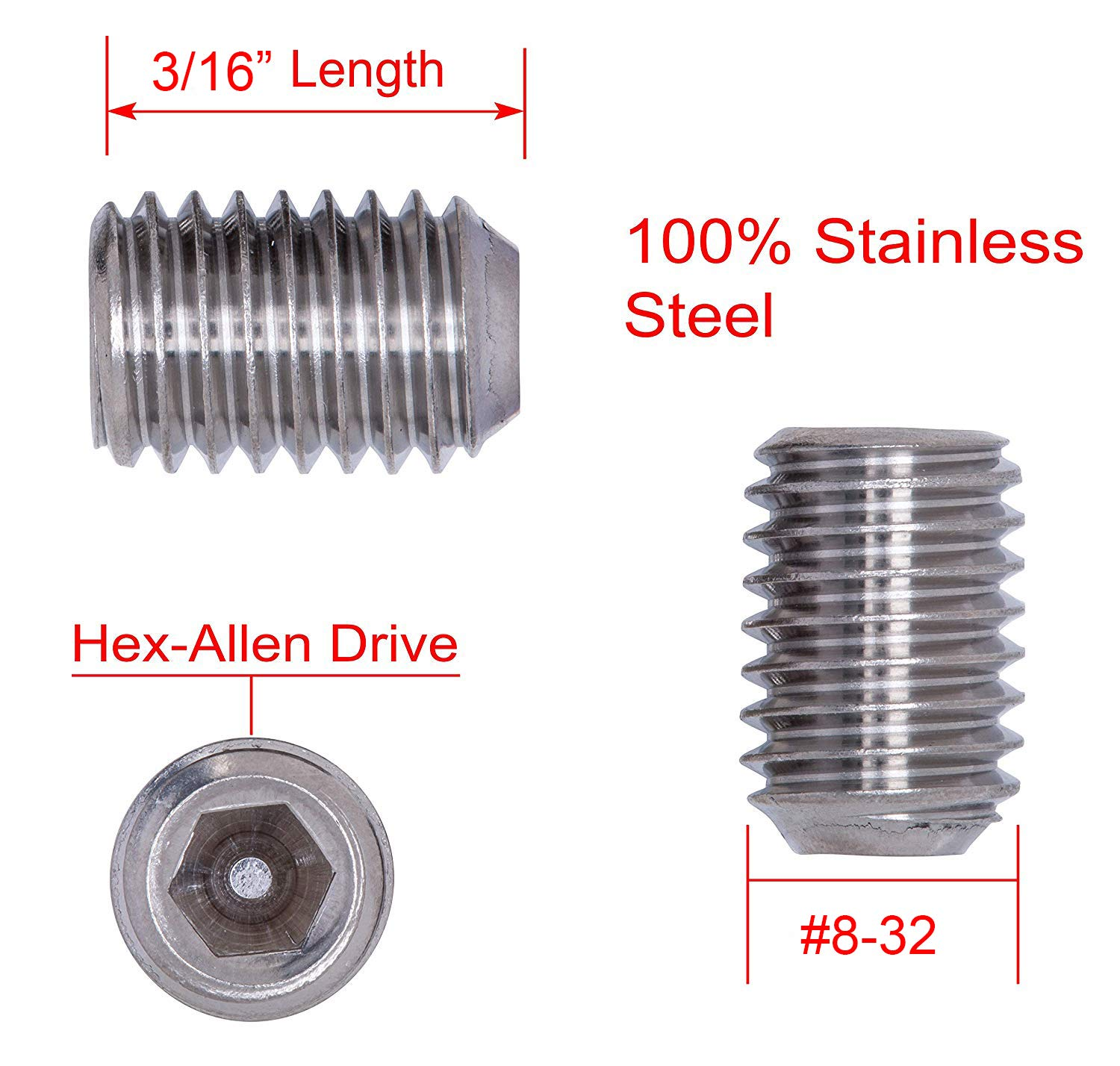 25 pc 18-8 304 Stainless Steel Screws by Bolt Dropper 3//8-16 X 3//8 Stainless Set Screw with Hex Allen Head Drive and Oval Point