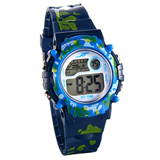 JewelryWe Relojes de Pulsera para Niños Niñas Infantil, Reloj Digital Deportivo Militar Azul Camuflaje, Multifunciones Relojes para Chicos Chicas: ...